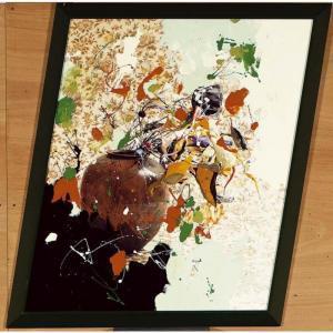 abstract mixed media flower painting by Ger Van Elk