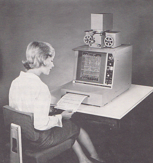 woman uses microfilm printer