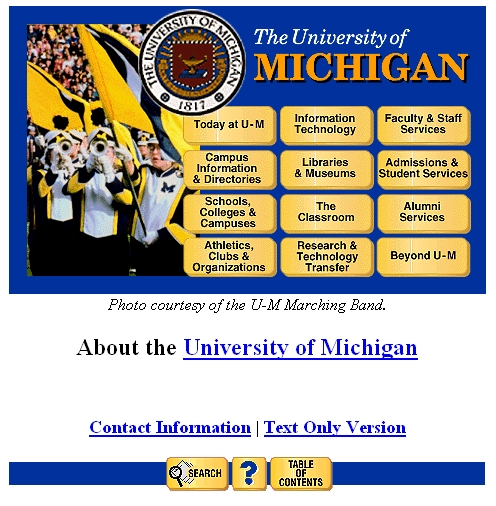 University of Michigan website in 1996