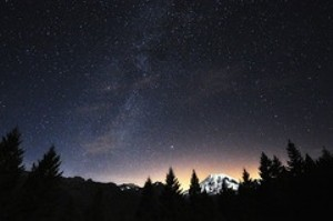 starry sky over mt. rainier