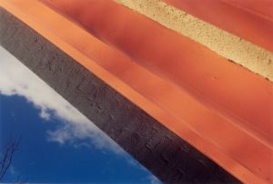 blue sky, orange diagonal structure